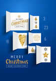 Christmas Advent Calendar Doors. Open to reveal festive images. Vector illustration Stock Photo