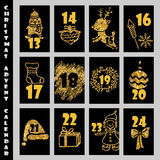 Christmas Advent Calendar With Gold Glitter Texture. Countdown to Christmas. vector illustration