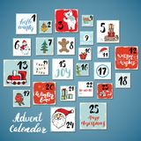 Christmas advent calendar. Hand drawn elements and numbers.   Royalty Free Stock Photos