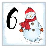 Christmas advent calendar. Hand drawn elements and numbers. Winter holidays calendar card design, Vector illustration.  Royalty Free Stock Photo