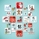 Christmas advent calendar. Hand drawn elements and numbers. Winter holidays calendar cards set design, Vector illustration.  vector illustration