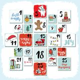 Christmas advent calendar. Hand drawn elements and numbers. Winter holidays calendar cards set design, Vector illustration Royalty Free Stock Photos