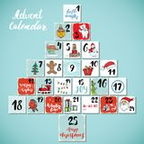 Christmas advent calendar. Hand drawn elements and numbers. Winter holidays calendar cards set design, Vector illustration Royalty Free Stock Image