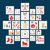 Christmas advent calendar. Hand drawn elements and numbers. Winter holidays calendar cards set design, Vector illustration vector illustration