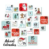 Christmas advent calendar. Hand drawn elements and numbers. Winter holidays calendar cards set design, Vector illustration Royalty Free Stock Photo