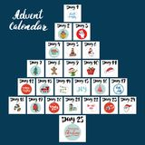 Christmas advent calendar. Hand drawn elements and numbers. Winter holidays calendar cards set design, Vector illustration.  royalty free illustration