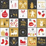 Christmas advent calendar. Hand drawn elements and numbers. Winter holidays calendar cards set design, Vector illustration stock illustration