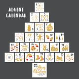 Christmas advent calendar. Hand drawn elements and numbers. Winter holidays calendar cards set design, Vector illustration royalty free illustration