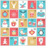 Christmas Advent calendar with hand drawn elements. Xmas Poster. Stock Photography
