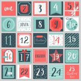 Christmas advent calendar, hand drawn style. Stock Photo