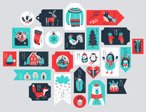 Christmas advent calendar, hand drawn style. Vector illustration Stock Images