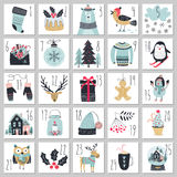 Christmas advent calendar, hand drawn style. Royalty Free Stock Photo
