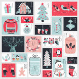 Christmas advent calendar, hand drawn style. Stock Photos