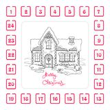Christmas Advent calendar with house and  handwritten words. On white background Stock Photo