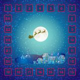 Christmas Advent calendar with Santa Claus and deer. Royalty Free Stock Images