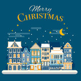 Christmas advent calendar template. Vector xmas greeting card la Royalty Free Stock Photography