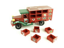 Christmas advent calendar toy. Christmas advent calendar old wooden car with drawers royalty free stock photo