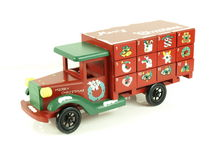 Christmas advent calendar toy. Christmas advent calendar wooden toy lorry on background royalty free stock photo