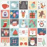 Christmas advent calendar. Winter holidays poster with cute rabbit, fox, owl, bear, deer and Santa. Vector illustration Stock Photo