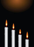 Christmas advent candles. Illustration of the four christmas advent candles lighted up as greeting card background Stock Photos
