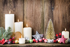 Christmas Advent candles with festive decor Royalty Free Stock Photography