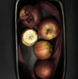 Christmas or Advent decorative bowl with apples close-up Royalty Free Stock Photo