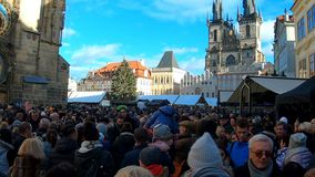 Christmas advent market at Old Town Square, Prague. PRAGUE, CZECH REPUBLIC - DECEMBER 8, 2018: Peoples on the famous advent Christmas market at Old Town Square stock video