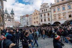 Christmas advent market at Old Town Square, Prague stock images