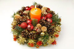 Christmas advent wreath with burning candle Royalty Free Stock Photography
