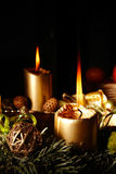 Christmas advent wreath with burning candles. In detail Stock Image