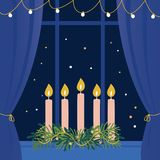 Christmas Advent Wreath with Candles on Window Sill Stock Photo