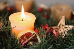 Christmas advent wreath - detail Stock Photo