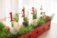Christmas advent wreath on table, second advent in focus Royalty Free Stock Photo