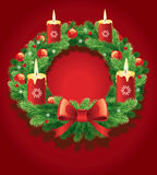 Christmas advent wreath with traditional green bow decorations and 4 candles Royalty Free Stock Photos