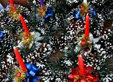 Christmas wreaths in the market. Christmas Advent Wreaths with Candles on City Markets Stock Image