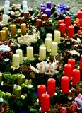 Christmas wreaths in the market. Christmas Advent Wreaths with Candles on City Markets Royalty Free Stock Photos