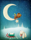 Christmas Adventure Bunny and Bear. Greeting card or poster Christmas Adventure Bear and Bunny. Computer graphics Royalty Free Stock Image