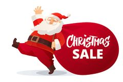 Funny cartoon Santa Claus with huge red bag with presents isolated on white. Christmas sale hand drawn text. Stock Photo