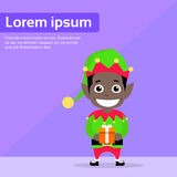 Christmas African American Race Elf Cartoon Stock Images