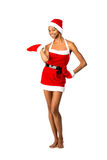 Christmas afro american woman wearing a santa hat smiling Royalty Free Stock Photos