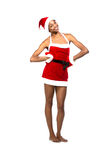 Christmas afro american woman wearing a santa hat smiling Royalty Free Stock Photo