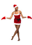 Christmas afro american woman wearing a santa hat smiling Royalty Free Stock Image