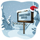 Christmas ahead sign in wintry scene Stock Image