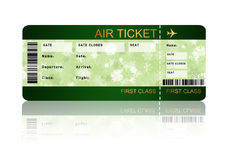 Christmas airline boarding pass ticket isolated over white. Christmas airline boarding pass ticket with shadow isolated over white background Stock Photo