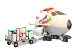 Christmas airplane and presents ready to be delivered Stock Photos