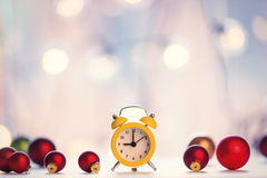 Christmas alam clock with fairy Stock Photos