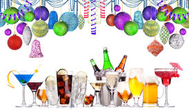 Christmas alcohol drinks set. Beer, wine, champagne, scotch, soda Stock Photos