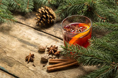 Christmas alcoholic drink on wooden background Stock Photos