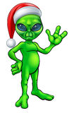 Christmas Alien in Santa Hat Royalty Free Stock Photos