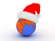 Christmas in all world. 3d illustration of the earth in the red Santa`s hat Royalty Free Stock Image